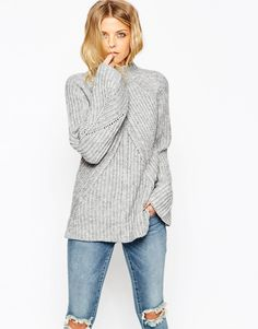 ASOS Chunky Jumper With High Neck And Moving Rib