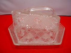 English Vintage Art Deco Pressed Glass Cheese Butter Dish Chance Glass Robert Goodden | 25