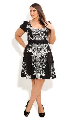 Monotone Floral Skater Dress - City Chic - City Chic