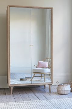 These mirrored doors could make your space feel bigger and brighter. And they're ready, willing and able when you want to take a twirl! Pleated Curtains, Curtains With Blinds, Kids Mirrors, Vintage Armoire, Home Designer, Mirrored Wardrobe, Curtain Accessories, Kids Wardrobe, Comfy Sofa