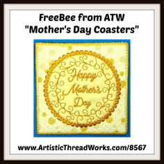 "FreeBee from ""FSA mothers day coasters"" Nancy Smith, Magnetic Bookmarks, Coaster Design, Forest Animals, Diy Photo, Baby Cats, Step By Step Instructions, Happy Mothers Day, Free Design"