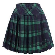Zeagoo Women High Waisted Plaid Pleated Mini Skater Uniform School Skirt,Small,Green: Measurements: br Please check your measurements to make sure the item fits before ordering. High Waisted Plaid Skirt, Green Plaid Skirt, Plaid Pleated Mini Skirt, Green Mini Skirt, Plaid Skirts, Waist Skirt, Alternative Outfits, Cute Skirts, Cute Outfits
