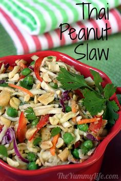 Thai Peanut Slaw - only 95 calories - a healthy side, main dish, or wrap filling. Make ahead for quick grab-and-go lunches. TheYummyLife.com