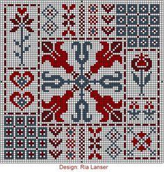 Design: Ria Lanser, Quaker style cross stitch