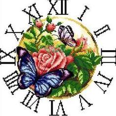 Popular Flower Butterfly Clock Cross Stitch Kit