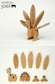 Made by Joel Thanksgiving Modern Wood Turkey Toy Decoration 1