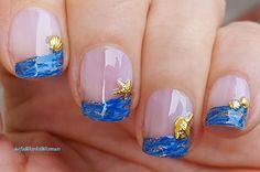 #Blue #summery striping brush #nailart Blue French Manicure, French Manicure Designs, Nail Designs, Beach Nail Art, Beach Nails, Nail Tutorials, Nail Manicure, Simple Nails, Short Nails
