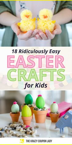 Easter crafts for kids and toddlers need to be easy and quick! There are so many complicated Easter DIY projects out there, it's refreshing to see Easter crafts that are simple, fast, and cheap to make. The Krazy Coupon Lady shows the best DIY Easter craft projects for kids that you'll both enjoy, including DIY chicks, string wrapped eggs, DIY Easter string lights, easter egg dye tricks, egg painting, Easter basket ideas, candy treats, decor, jewelry, and more. Plastic Easter Eggs, Easter Egg Dye, Easter Crafts For Kids, Easter Ideas, Do It Yourself Organization, Craft Projects For Kids, Diy Projects, Floral Foam, Homemade Crafts