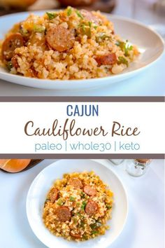 This cajun cauliflower rice is a paleo, and keto undertake dirty rice. It uses riced cauliflower, andouille sausage, pepper, onion and creole and cajun seasonings to create an easy one pot skillet meal.paleo keto Paleo Menu, Paleo Cookbook, Paleo Food, Vegetarian Paleo, Keto Meal, Healthy Recipes, Diet Recipes, Cooking Recipes, Recipes Dinner