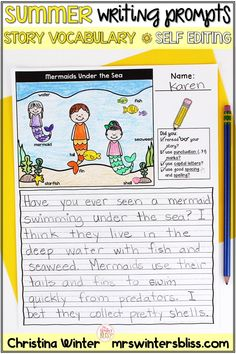 Summer Writing Prompts - My students love to write using these summer writing prompts! These prompts have a summer vocabulary word bank for each picture to naturally differentiate your writing center. Even my most emergent, timid writers shine using them! mrswintersbliss.com #summerwritingprompts #selfeditingwritingprompts