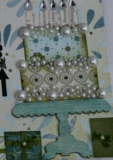 Birthday Card - love this idea for the pearls, would be really nice for a wedding card too