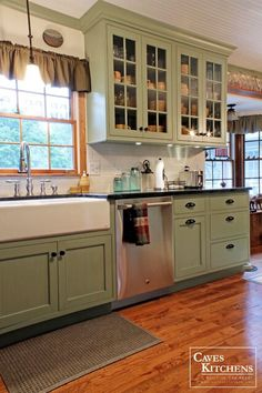 Kitchen Cabinets Remodeling Sage Green Country Cottage Kitchen with Farmhouse Sink - transitional - kitchen - other metro - Caves Kitchens - Green Kitchen Cabinets, Farmhouse Kitchen Cabinets, Kitchen Cabinet Colors, Kitchen Redo, Kitchen Remodel, Kitchen Ideas, Farmhouse Sinks, Oak Cabinets, Kitchen Walls