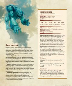 Homebrewing monsters Skindancer - Dancing skin that changes resistances on the fly! Dungeons And Dragons Rules, Dungeons And Dragons Classes, Dungeons And Dragons Homebrew, Fantasy Creatures, Mythical Creatures, Dnd Sorcerer, Dnd Stats, Beast Creature, Dnd 5e Homebrew