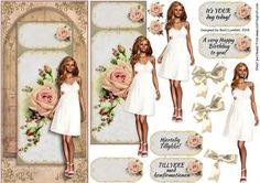 Here is a beautiful young girl standing in her fine white dress in front of a large door, which could be a Church door. The finished card will be perfect for a Konfirmation (Confirmation) in the Scandinavian countries and maybe other countries too, where the age for confirmation is 14 years or more, but its also perfect for a teenage birthday and for a bridal shower for a young bride.