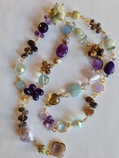 Chipped Amethyst gemstone and faceted glass bead chunky clustered necklace with bronze wire and chain Free UK delivery