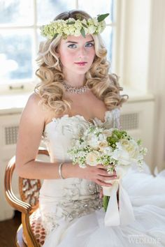 Model Bride Wears A Fresh Floral Crown Of Petite Green Roses & Holds A Bouquet Of White Peonies, Cream Roses, Lily Of The Valley, & Greenery