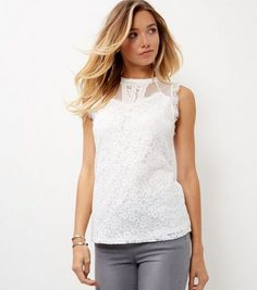 Tall Cream Lace Mesh Vest    New Look
