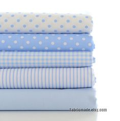 Light Blue Cotton Fabric White & Power Blue Plaid by fabricmade