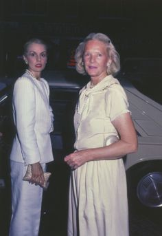 C.Z. Guest with Carolina Herrera at a party for Diana Vreeland's autobiography, D.V., at Mortimer's in New York City, 1984