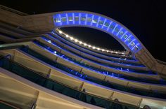 Photographed from the Promenade Deck (deck the SeaWalk, beautifully lighted at night. Check out the video for a virtual stroll along the SeaWalk. Boat Fashion, Love Boat, Cruise Vacation, Looking Up, Night Light, Royal Princess, Tours, Cruise Ships, Lighthouses