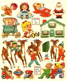 The night before christmas Christmas Paper, Retro Christmas, Christmas Crafts, Xmas, Paper Toys, Paper Crafts, Diy Crafts, Vintage Christmas Images, Holiday Images