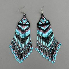 Long  seed bead earrings by Anabel27shop on Etsy,