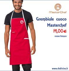 Grembiule cuoco MASTERCHEF rosso/bianco solo a 19,00€. Acquistalo ORA su www.rbdivise.it!