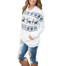 New Women Christmas Elk Hoodie Sweatshirt Jumper Pullover Hooded Tops(China (Mainland))
