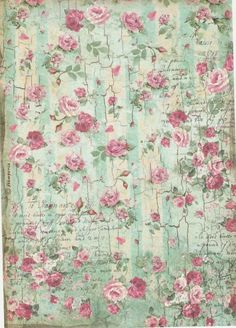 Rice Paper for Decoupage Scrapbook Craft Sheet Pretty Roses Green Decoupage Printables, Printable Scrapbook Paper, Printable Paper, Papel Vintage, Decoupage Vintage, Vintage Paper, Paper Art, Paper Crafts, Foam Crafts