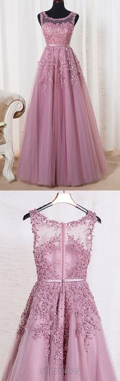 Graceful Long Prom Dresses,A-line Formal Dresses,Scoop Neck Tulle Lace Evening Dresses, Appliques Girls Party Gowns