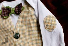 DIY vest + faux bowtie + elbow patch onesie outfit. LOVE the elbow patches!!!