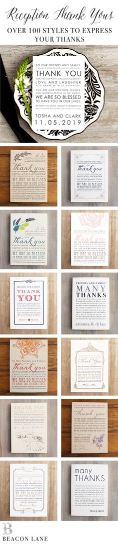 Our Top Favorite Table Top Wedding Reception Thank You Signs! With over 100 designs to choose from you're sure to give thanks in style. Looking to personalize? No problem. Each design includes customizable wording, inks, fonts & paper color. @beaconln