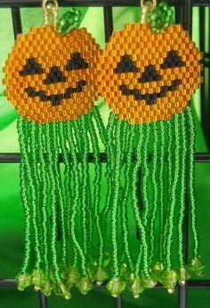 Halloween Jack-O-Lantern Beaded Dangle Earrings by BeadedGreetings