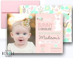 BUNNY BIRTHDAY INVITATION in pink and mint Having a Bunny themed party? This sweet mint and pink invitation comes with a sweet bunny, and photo of your child! Done in a shabby/vintage style. Bunny Premium pack is here: https://www.etsy.com/listing/225297130/bunny-birthday-invitation-some-bunny-is?ga_search_query=bunny&ref=shop_items_search_28 The best part is that its a digital file so you can print as many as you like, or go green and send your invitation via email. Print 1, print 1000! ...