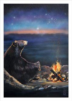 "Whimsical - ""How Grandfather Bear created the stars"" - Storytelling Wildlife Art Print Bear Paintings, Painting Prints, Canvas Prints, Art Prints, Wildlife Paintings, Bear Art, Wildlife Art, Black Bear, Spirit Animal"