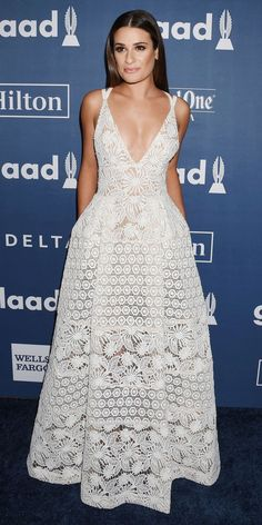 9b5787af69011 11 Times Celebs Basically Wore Wedding Dresses on the Red Carpet - Lea  Michele from InStyle