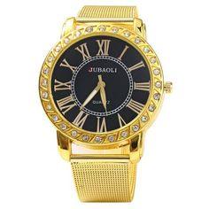JUBAOLI Male Diamond Quartz Watch Steel Net Band #CLICK! #clothing, #shoes, #jewelry, #women, #men, #hats