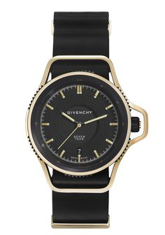 Givenchy SEVENTEEN WATCH LIMITED EDITION IN PALE GOLD & BLACK DIAL BLACK NYLON NATO STRAP