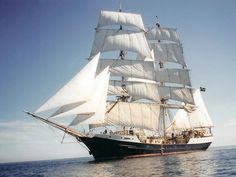 """The """"Gunilla"""" was built as a motorsailor in the 30's and used as a cargo vessel until 1997 when she was rebuilt into a 3-masted barque. She has since been active as a sailing college, where social studies students in the age from 16-18 years spend 60 days each year as a part of their education, learning to sail, cooperate and becoming world situation. She completes a lap around the Northern Atlantic each year, educating 5* 44 students every year."""