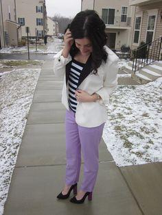 @J.Crew lilac pants, black and white striped tank top