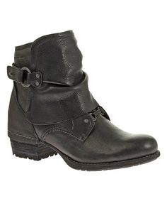Look at this Black Shiloh Cuff Leather Bootie on #zulily today!