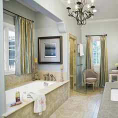 Love this bathroom - minus the chandelier and maybe a different color ?! Really like the layout !