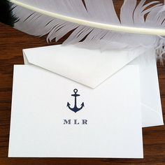 New to VeronicaFoleyDesign on Etsy: Nautical Stationery  Personalized Stationery for Men  - Set of 10 - 300 Monogrammed Stationery with Anchor -  First Anniversary Gift (18.00 USD)
