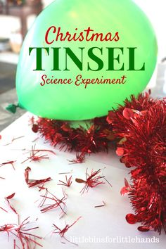 Jumping Tinsel Christmas Static Electricity Science Experiment. 25 Days of Christmas STEM Countdown Calendar Activity.