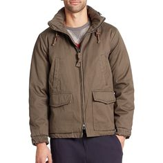 Burkman Bros Cotton Puffer Jacket (10095 RSD) ❤ liked on Polyvore featuring men's fashion, men's clothing, men's outerwear, men's jackets, apparel & accessories and green