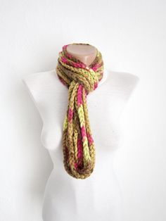 Crochet Scarf infinity Green brown pink Necklace Colorful by nurlu