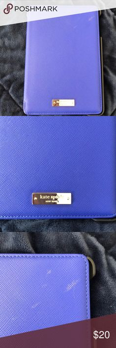 Kate Spade iPad mini cover iPad mini case. Was on my mini 2.  Has a few marks on front cover.  See photos.  Blue and black with stand. Priced accordingly. kate spade Accessories Laptop Cases