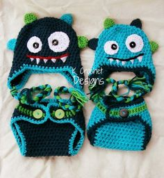 Monster hat-Crochet baby hat-Hat and diaper cover set-Photography prop-boys or… Crochet For Boys, Crochet Baby Hats, Crochet Clothes, Free Crochet, Knit Crochet, Crocheted Hats, Booties Crochet, Knit Hats, Baby Kostüm