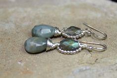 Green Agate Teardrop Earrings Beaded by austinleighdesigns on Etsy