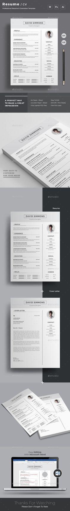 Resume Curriculum professionale, Semplice e Curriculum vitae - resume paper size